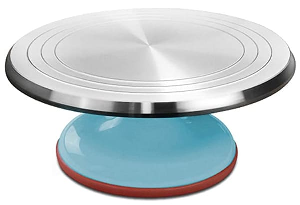 A cake turntable and stand.