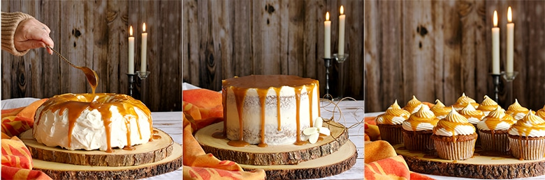 Carrot Cake three ways: Carrot Bundt Cake, Carrot Layer Cake, and Carrot Cupcakes. All three are iced with Cream Cheese Buttercream and covered in Caramel Rum Sauce.