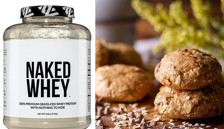 A jar of Naked Whey Protein Powder and a plate of Chocolate Peanut Butter Breakfast Cookies.