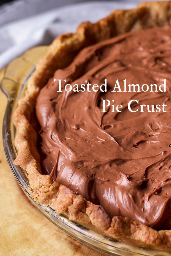 A chocolate cream pie made with Toasted Almond Crust.