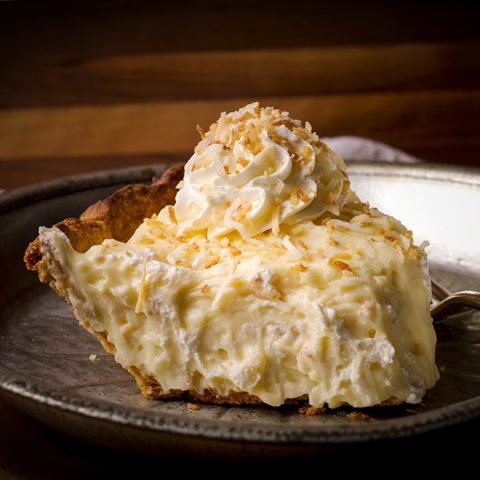 A slice of coconut cream pie.