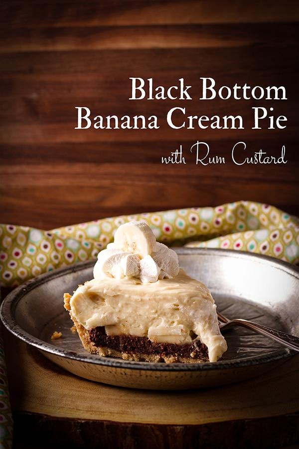 A slice of Black Bottom Banana Cream Pie on a plate.