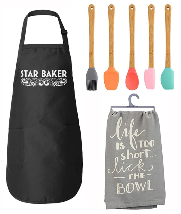 The March 2021 Bake Club Challenge Prize is a set of silicone spatulas, a tea towel, and an apron.