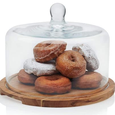 Flat Round Wood Server Cake Stand with Glass Dome