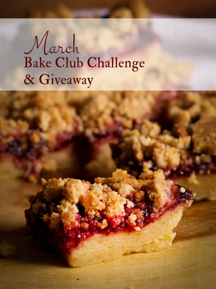 The March 2021 Of Batter and Dough Bake Club Challenge Recipe is Cherry Shortbread Crumble Bars