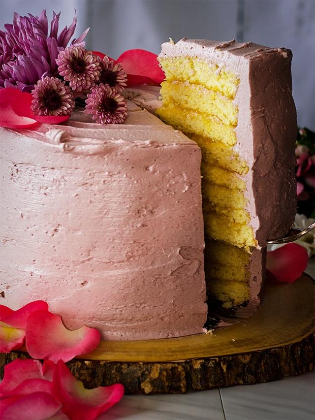 8-Layer Lemon Cake with Blackberry Buttercream