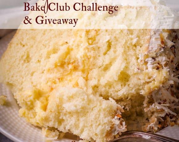 The April, 2021 Bake Club Challenge Recipe is Coconut Cream Cake.