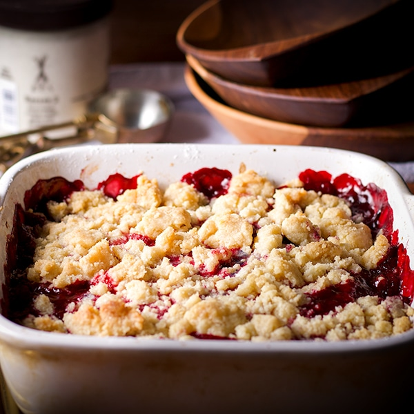 A freshly baked pan of Berry Cobbler, warm from the oven, ready to eat.