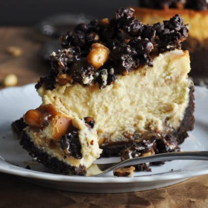 A slice of peanut butter chocolate cheesecake on a plate with a fork that's cut a bite from the slice.