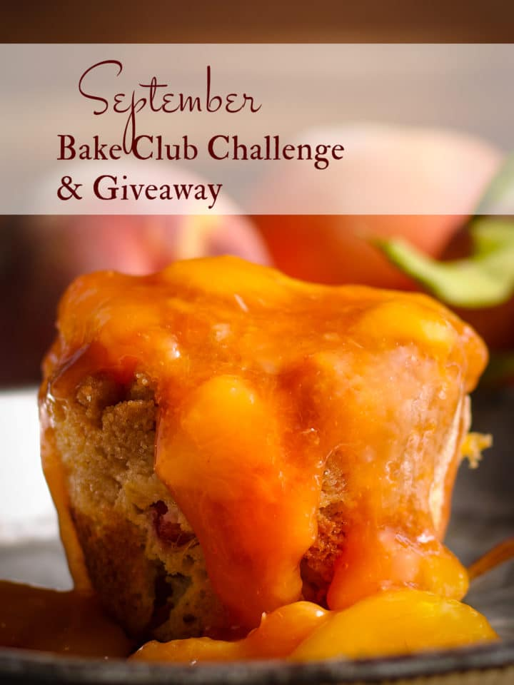 The September Bake Club Challenge recipe is Peach Cobbler Muffins