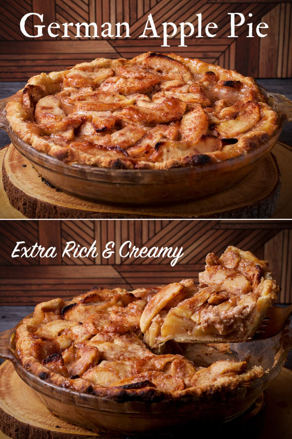 Two photos of German apple pie. The first photo shows a whole pie and the second photo shows serving a slice of pie.