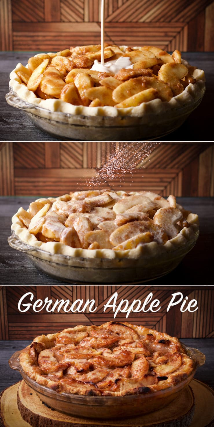 Three photos showing how to make German Apple Pie: pouring cream over the pie, sprinkling it with sugar, and the finished, baked pie.